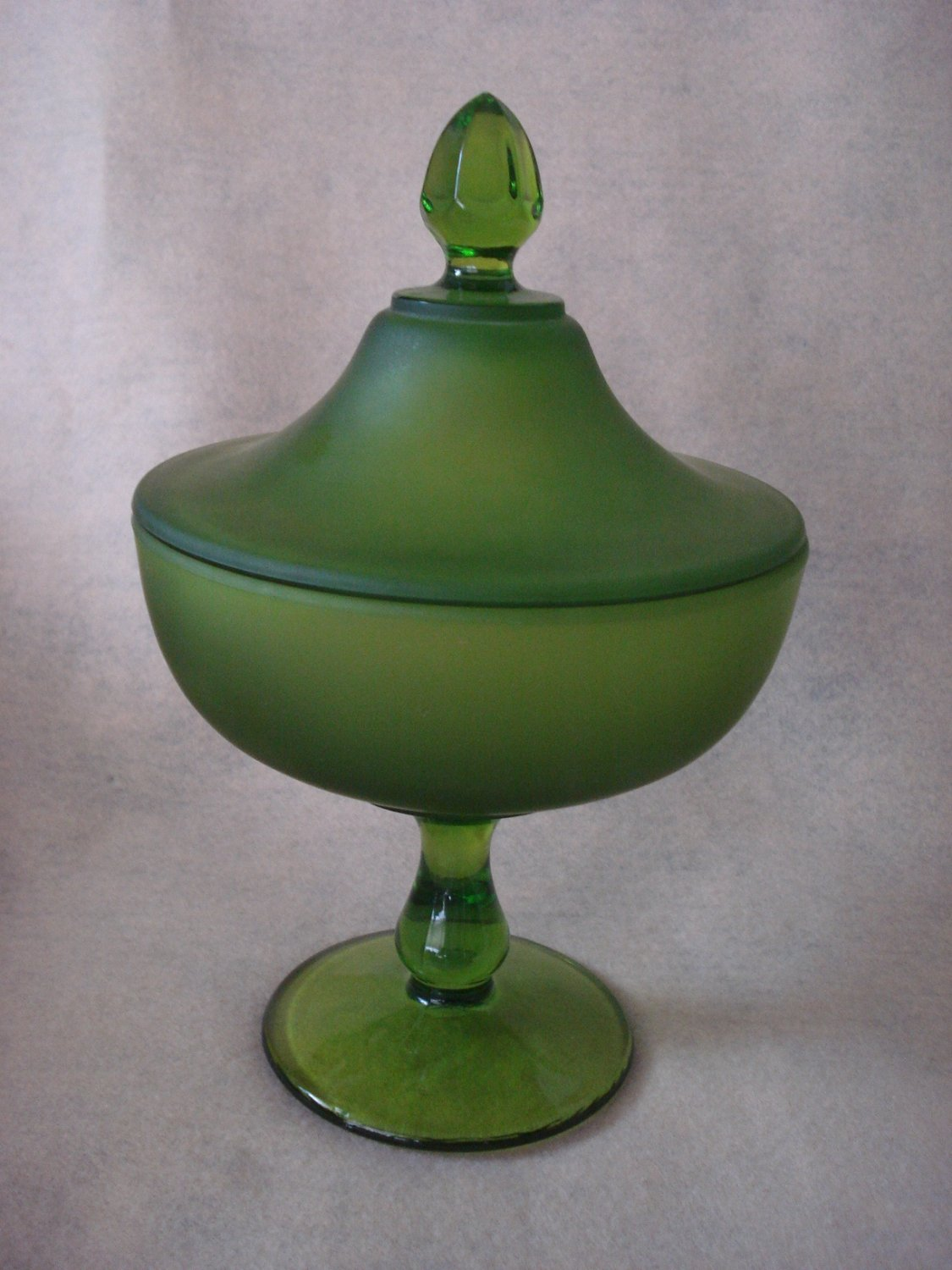 "Westmoreland 9"" Covered Candy Dish, Green and Green Mist Finish, marked"