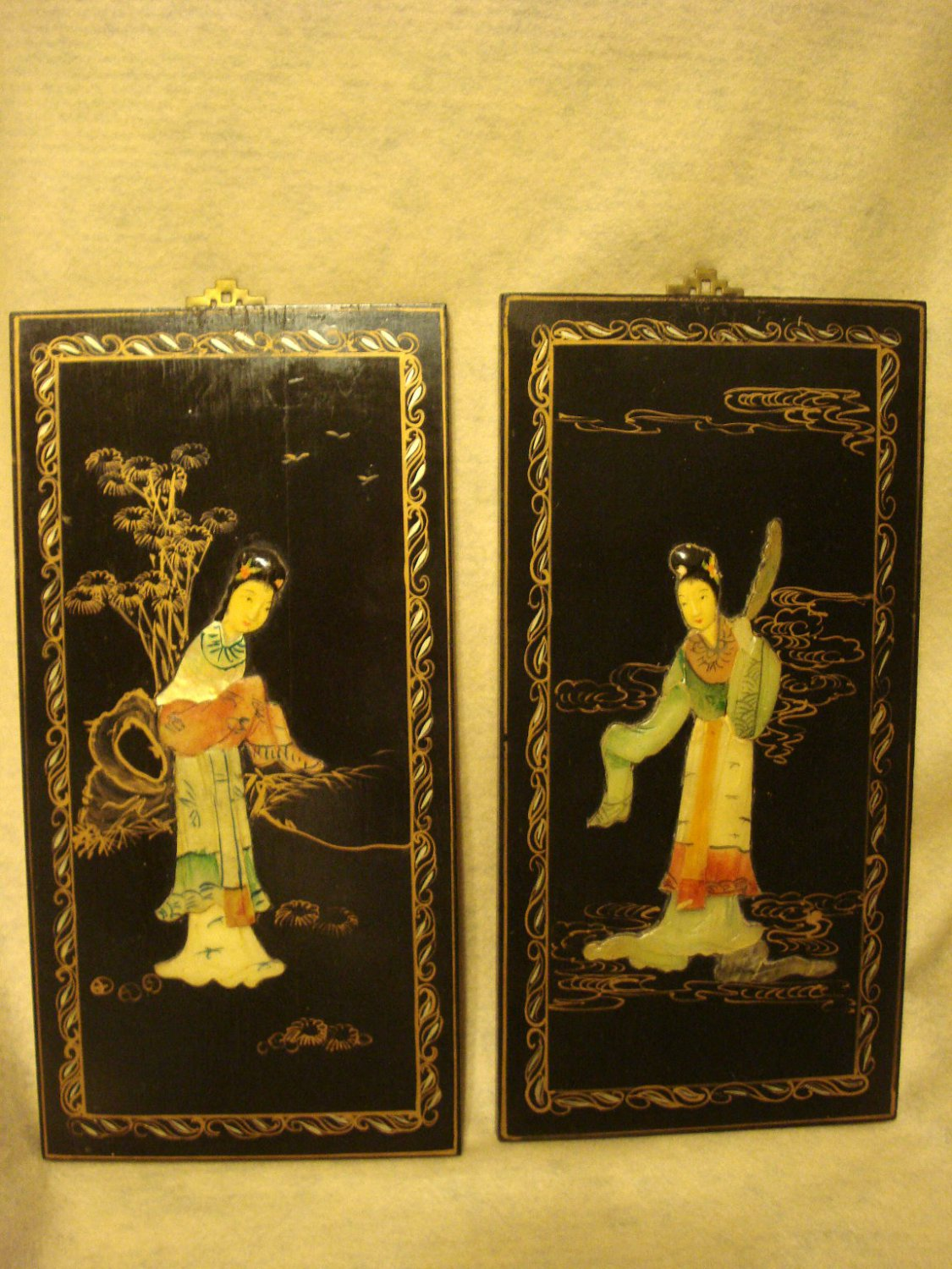 """Oriental Mother of Pearl Figures in Bass Relief on Decorated 14"""" Wood Plaques"""