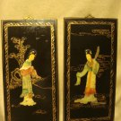 "Oriental Mother of Pearl Figures in Bass Relief on Decorated 14"" Wood Plaques"
