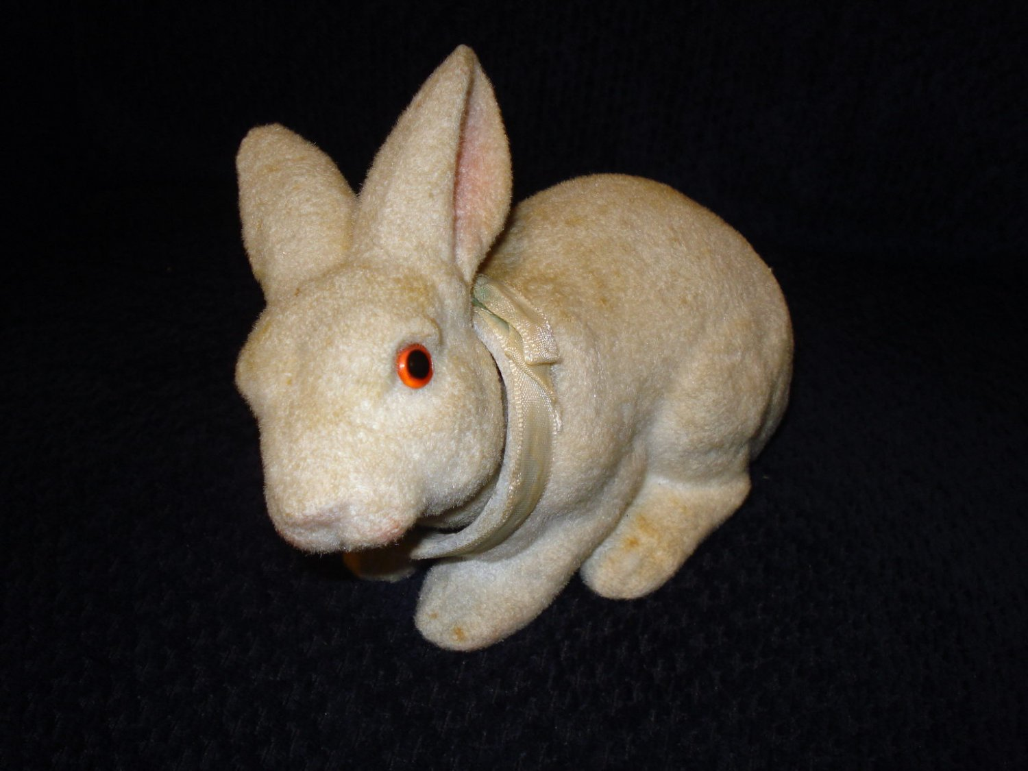 Very Old Nodder Easter Rabbit Figure 8 Inches Long, Glass Eyes, Nappy Exterior