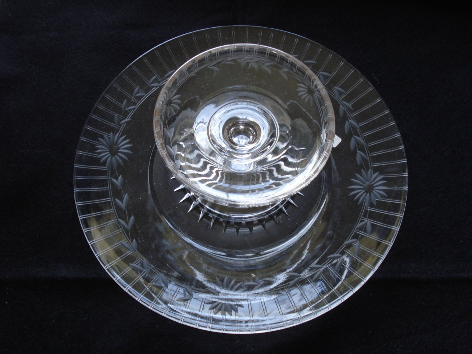 Elegant Dish and Large Under Ptate, Wheel Cut Glass, was made in USA