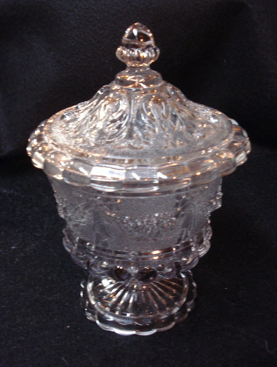Pattern Glass Footed Candy Dish with Lid