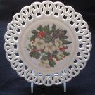 "Westmoreland Christmas Floral Plate on Milk Glass, Wicket Border, 9"" Dia., Rare"