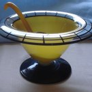 2 piece Westmoreland 1920s Yellow Cased Comport, Black Trim, with Spoon