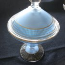 1920s Blue Cased Covered Candy Dish Westmoreland Glass, Gold Trim