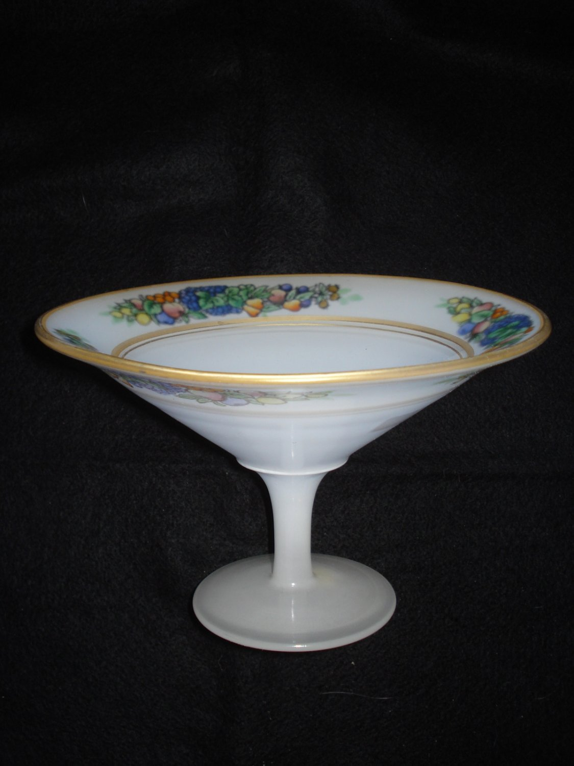 1920s Westmoreland White Cased Reverse Painted Slim Stemmed Comport