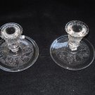 Westmoreland Princess Feather Candle Holders, Clear, Pair