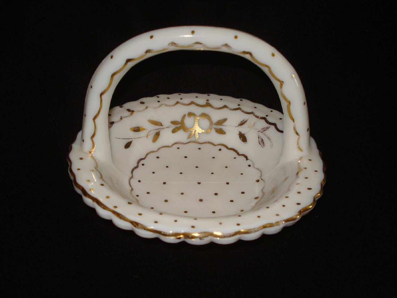 Charleton Gold Decorated English Hobnail Basket, Westmoreland White Milk Glass