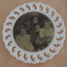 "Fenton White Milk Glass ""C"" with early 1900s Victorian Photo Button 9.5"" Plate"