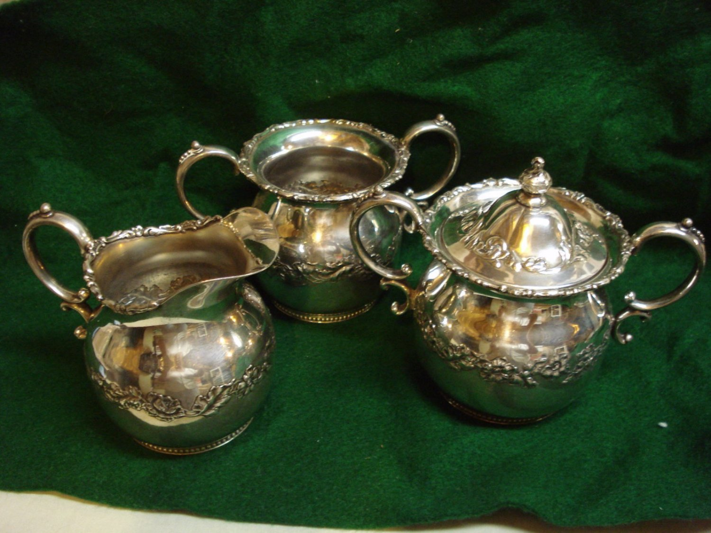Antique Rare Pairpoint Quadruplate Silver Plate Creamer, Sugar & Spooner, Signed