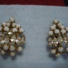 "Unique Rhinestone and White stone Vintage Earrings - Beautiful Pair 1-3/8"" Long 2 layers"