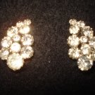 "Weiss Clip on Rhinestone Cluster Vintage Earrings, Beautiful Pair 1-1/8"" Long"