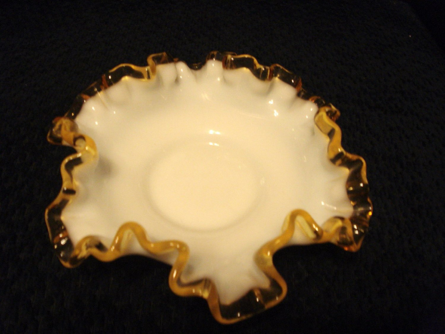 Fenton Milk Glass Gold Crest Small Ruffled Dish 5.5 Inches Dia., made in USA