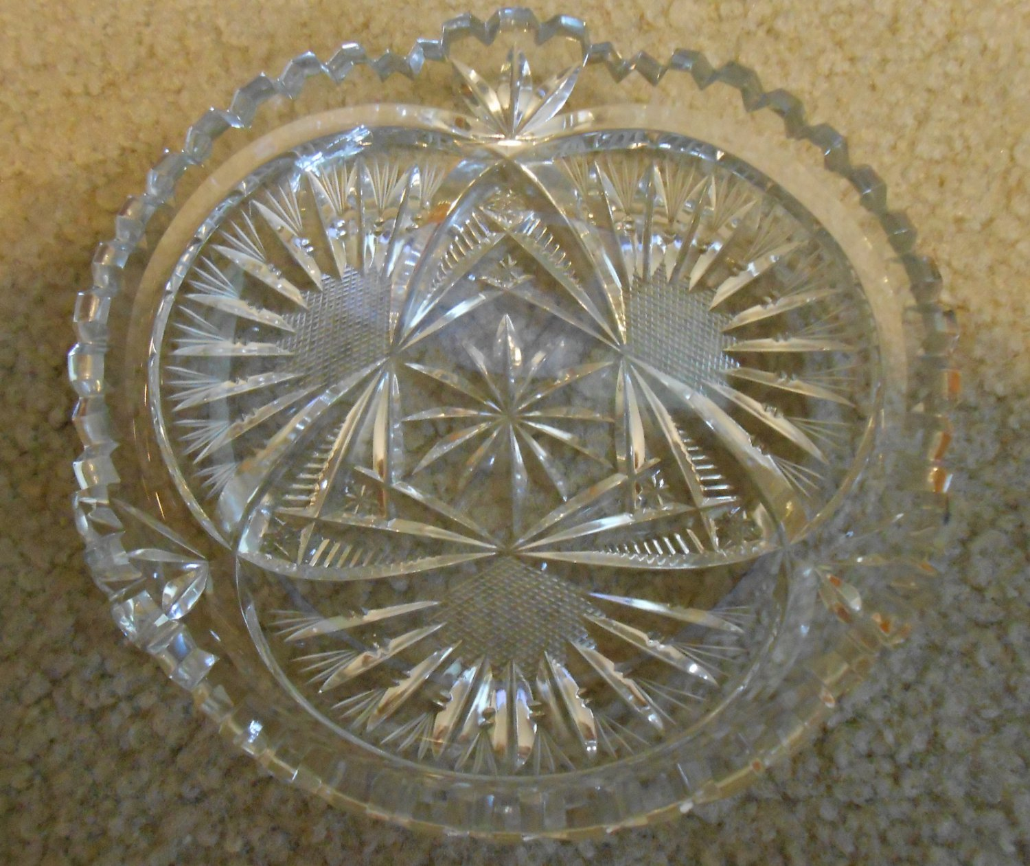 Leaded Glass Crystal Fan Patterned Low Dish, 5-3/4 dia.