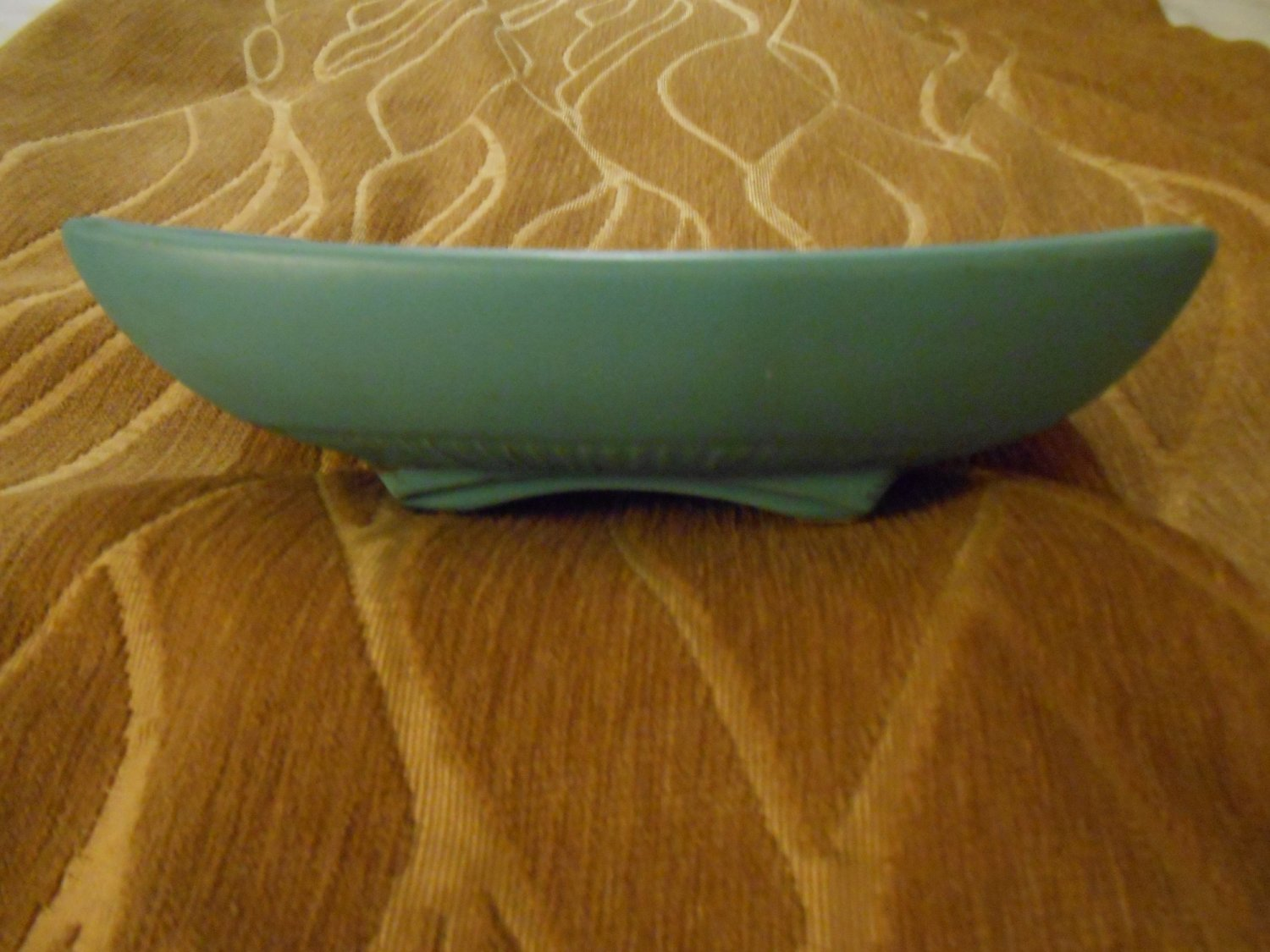 """McCoy Pottery Turquoise Blue Classic 8"""" Dish, made in USA in 1962"""