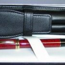 CROSS LUXURY   DOUBLE BLACK ITALIAN  LEATHER PEN CASE