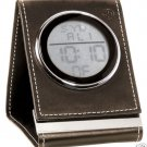 Seth Thomas BROWN LEATHER FOLD UP TRAVEL  ALARM CLOCK