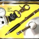 COLIBRI Soccer Theme Watch Key Ring Ball Pen Gift Set