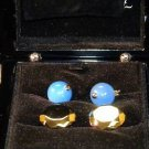 S.T.  DUPONT Blue Agates Chain Cuff Links 2 PAIR