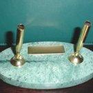 Green Marble Engravable Pen & Pencil Desk Set NEW