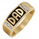 MENS 14K GOLD DAD DIAMND RING SZ10