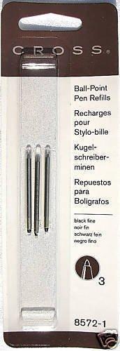6  Cross Matrix ballpoint pen refills Black Fine 8572-1