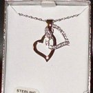 STERLING GENUINE DIAMNDS DOUBLE HEART NECKLACE COLIBRI