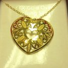 $75 Colibri  Heart Edwardian Lace Pendant Necklace