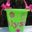 Pretty Pail in Lime and Pink Personalized