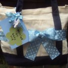waiting on baby boy Polka Dot Survival Tote