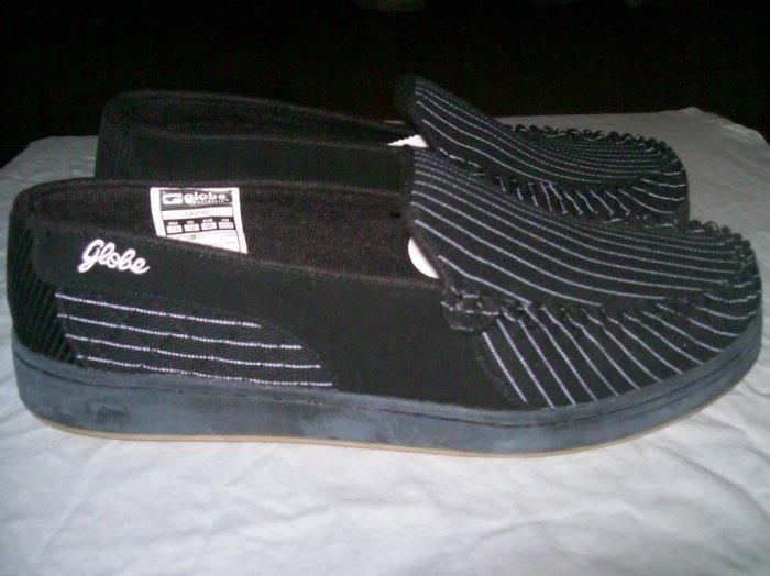 Globe Castro Black / White Pinstripe Loafer Slip-Ons - US Men's Size 13
