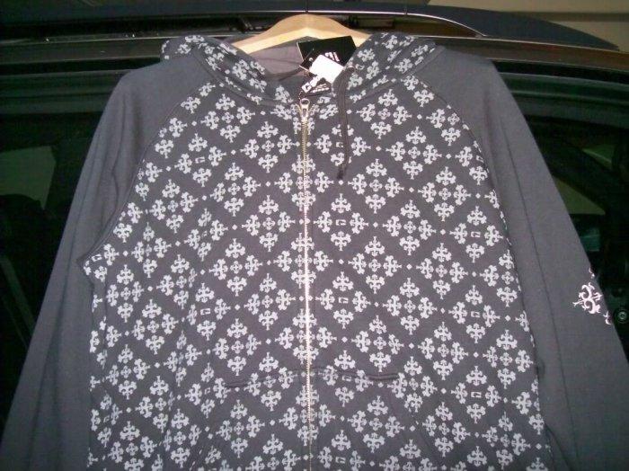 GLOBE SKATEBOARDS Ornate Custom Zip Hoodie - Limo Black - Large
