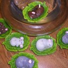 Set of 2 Mice on Leaves Floating Candles