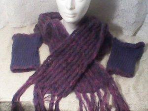 loom knitted set.. lavender