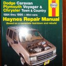1984 - 1995 Dodge Caravan, Plymouth Voyager & Chrysler Town and Country Haynes Repair Manual