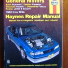 82-94 GM Buick Cadillac Cimarron Chevrolet Cavalier Olds Firenza Pontiac J2000 Sunbrid Haynes Manual
