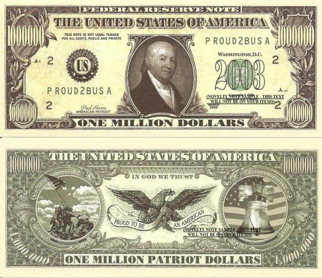American Patriot Paul Revere Million Dollar Bills X 4