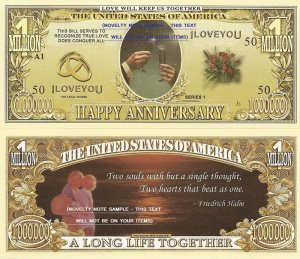 HAPPY ANNIVERSARY DOLLAR BILLS x 4 GIFT NEW WEDDING