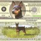 MINIATURE PINSCHER DOG MIN PIN MILLION DOLLAR BILLS x 4