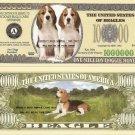 BEAGLE DOG PUPPY ONE MILLION DOLLAR BILLS x 4 NEW