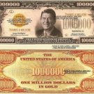 RONALD REAGAN ONE MILLION GOLD DOLLAR BILLS x 4 NEW