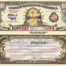 SUPPORT OUR TROOPS USA YELLOW RIBBON DOLLAR BILLS x 4 AMERICAN FORCES