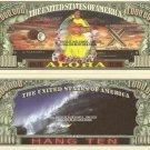 HAWAII ALOHA PACIFIC PARADISE MILLION DOLLAR BILLS x 4