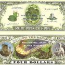 SAINT PATRICK'S DAY LUCKY CHARM FOUR DOLLAR BILLS x 4 ST