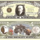 WYOMING THE EQUALITY STATE 1890 DOLLAR BILLS x 4 WY
