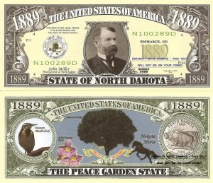 NORTH DAKOTA PEACE GARDEN STATE 1889 DOLLAR BILLS x4 ND