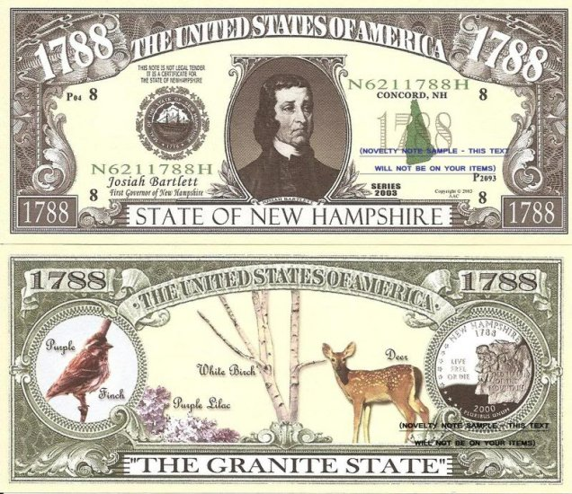 New Hampshire The Granite State 1788 Dollar Bills X4 Nh