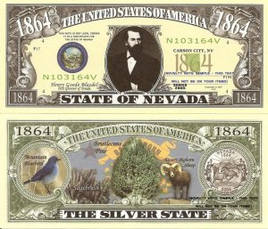 NEVADA THE SILVER STATE 1864 DOLLAR BILLS x 4 NV