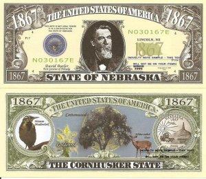 NEBRASKA THE CORNHUSKER STATE 1867 DOLLAR BILLS x 4 NE