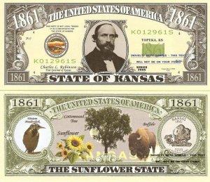 KANSAS THE SUNFLOWER STATE 1861 DOLLAR BILLS x 4 KS